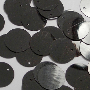 Bulk Bag 15mm Glossy Black Flat Round Sequins x 100g